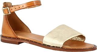 Leonardo Shoes Sandali Bassi da Donna Fatti a Mano Pelle Cuoio con Fascia Oro - Codice Modello: 301B lam. Plat. Cuoio