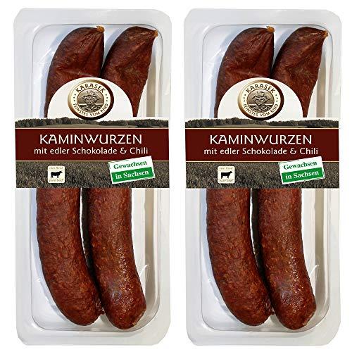Kaminwurzen Rind 100% Schokolade Chili   Wurstdelikatesse Rindswurst luftgetrocknet   Ausgereifte Mettwurst - Salami Snack zum kalt & heiß essen   Rindfleisch aus Sachsen 320 GR