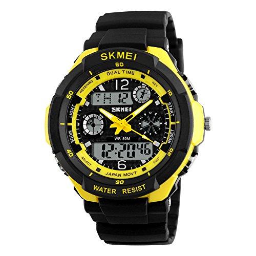 SKMEI orologio da uomo, impermeabile 50m, sport, outdoor, escursionismo o orologi LED digitale, orologio per bambini, ragazzo, uomo, Yellow Shell, large