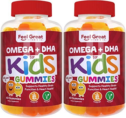 Complete DHA Gummies for Kids by Feel Great 365 (2 Pack), Omega 3 6 9 from Algae, Chia, and Coconut Oil, Supports Healthy Brain Function, Vision, and Heart Health in a Chewable Vegan Supplement