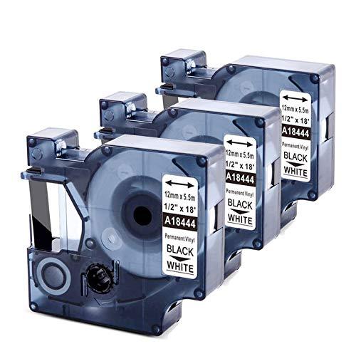 Upwinning kompatibel Vinyl Bänder als Ersatz für Dymo Rhino 18444 Permanent Schriftband 12mm x 5,5m schwarz auf weiß, Industrie etiketten kompatibel für Rhino 6000 5200 5000 1000 3000 4200, 3er-Pack