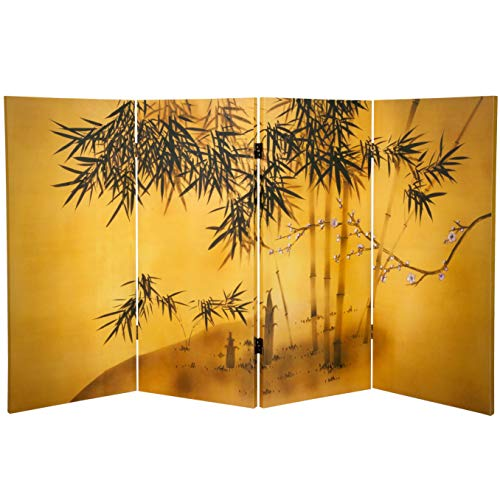 Oriental Furniture 3 ft. Tall Double Sided Bamboo Tree Canvas Room Div