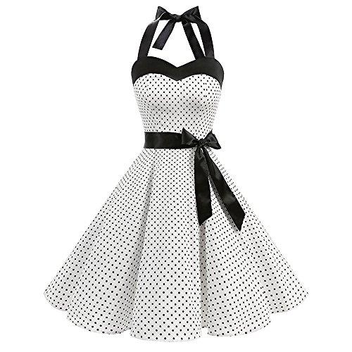 TEBAISE Damen Rockabilly Kleider Neckholder 1950er Vintage Kleid Retro Knielang Kleider Damenkleider...