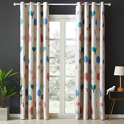 Topfinel Verdunklungsvorhänge mit Ösen Baum Mustern Blickdichte Kurze Gardinen für Kinderzimmer Fenster 2er Set je 160x140cm (HxB)