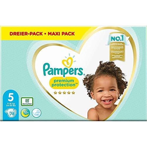 Pampers Premium Protection Windeln, Gr. 5, 11kg-16kg, Dreier-Pack (1 x 78 Windeln)