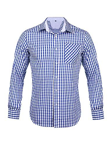 Sykooria Herren Langärmeliges Kariertes Hemd Trachtenhemd Langarm Oktoberfest Karohemd Bluse Baumwolle
