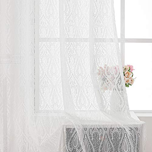 """White Lace Sheer Curtain Panels for Bedroom Living-Room 84"""" Damask Lace Fabric Privacy Window Treatment Sets Vintage Floral Light Filtering Drapes Rod Pocket for Office Yard Patio, 55"""" Wide 2 Panels"""