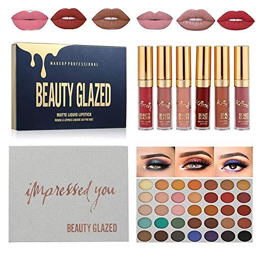 BEAUTY GLAZED 35 Farben schimmer Lidschatten palette matt augenschatten palette & 6 Farben matt lip gloss Makeup Kit Professionelle Kosmetik-Set #1
