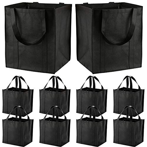10 Pack Large Reusable Grocery Bags with Reinforced Handles - Heavy Duty Shopping Tote bags can Hold...