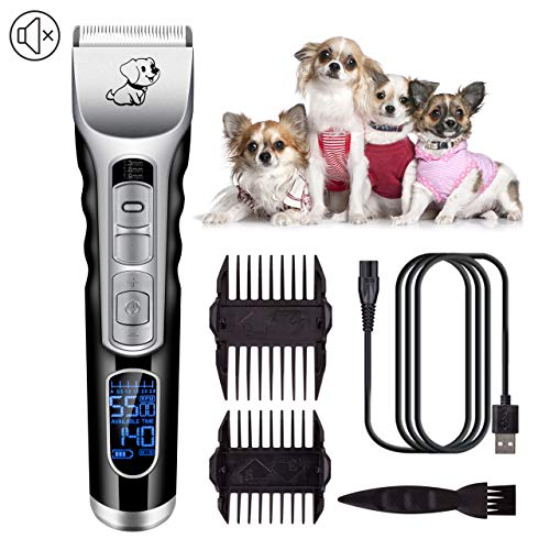 TRAINER SECRET Dog Clippers with 5 Speeds Adjustment and LCD Display, Cordless Dog Grooming Clippers Low Noise Rechargeable Pet Hair Trimmer,Best Shaver for Dogs Cats Pets