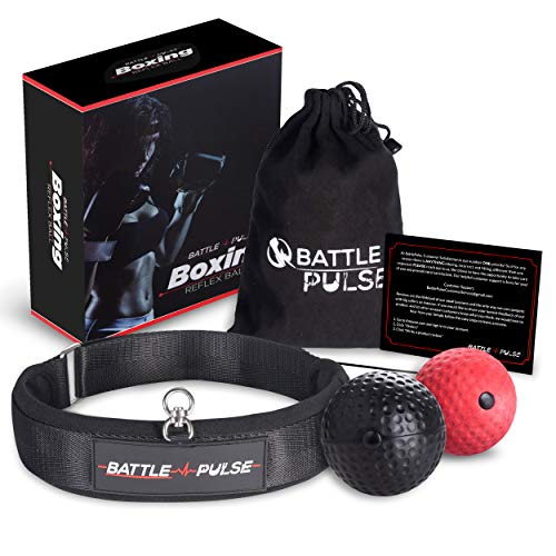 BattlePulse Reflex Ball – Soft Multilayer Premium Headband Boxing Ball – 360Degree Buckle – 2 Difficulty Level Punching Ball – Reflex Speed Ball – Hand Eye Coordination Training Headset
