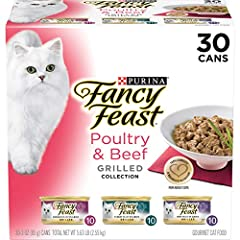 Thirty (30) 3 oz. Cans - Purina Fancy Feast Gravy Wet Cat Food Variety Pack, Poultry & Beef Grilled Collection Beef and poultry flavors for the tastes cats love 100% complete and balanced nutrition for adult cats Tender, slow-cooked cuts for a tempti...
