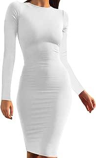 Best white long sleeve midi dress Reviews