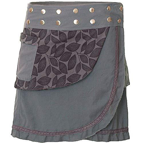 PUREWONDER Damen Wickelrock Baumwolle Rock mit Tasche sk231 Grau Einheitsgröße verstellbar