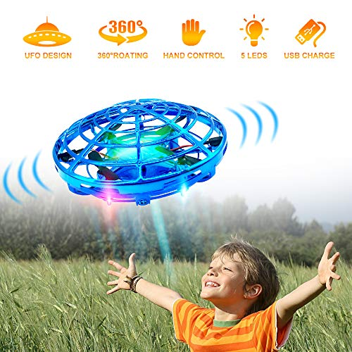 Hand Drones, Hand Operated Drones, econoLED Boy Toys Kids Hand Controlled Flying Ball Drone,Hands Free Mini Flying Ball Helicopter with 2 Speed & 5 LED Lights for Boys, Girls, Kids Gift (Blue)