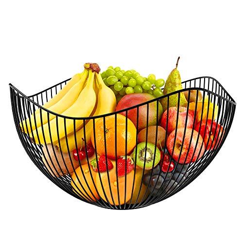 karadrova Fruttiera Portafrutta Nero Fruttiere Cesto Frutta Metallo Porta Frutta da Tavolo 25x14 cm Grande Portafrutta Moderno Fruttiera Centrotavola