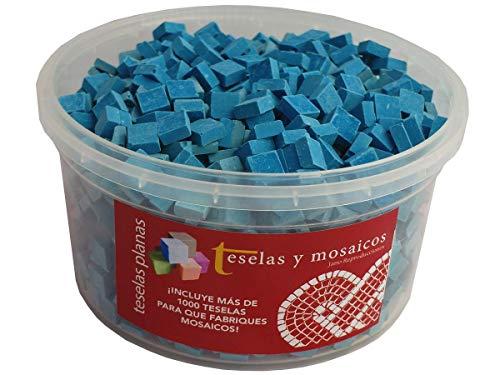 Cubo 1000 teselas azul oscuro para mosaico planas de 7,5x7,5x3 mm. + regalo cola blanca uso escolar