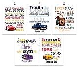 Cars Christian Nursery Set of 5 Prints, Lightning McQueen, Ramone, Doc Hudson, Cruz Ramirez and Tow Mater