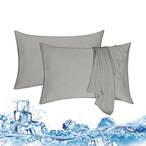 """Haowaner Double Sided Cooling Pillow Cases, Cooling Pilliowcase 2 Packs, Cooling Pillow Cases for Night Sweats&Hot Sleepers, Standard Cool Pillowcase,Cold Pillow Cover,Ice Pillow Protector,20""""X26""""Grey"""