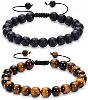 Ricjurzzty 2 PCS Tiger Eye Mens Beaded Bracelet Gifts - Lava Rock Stone Mens Anxiety Bracelet - Stress Relief Adjustable B...