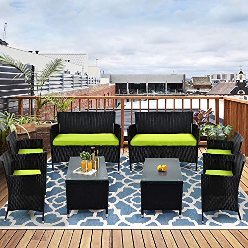 kupet 8 PCS Outdoor Patio Furniture Set Garden Conversation Sofa Chair with Green Cushions +Black...