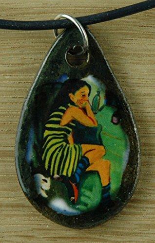 Echtes Kunsthandwerk: Schöner Keramik Anhänger nachempfunden Die Artistin von Ernst Ludwig Kirchner; Künstler, blaue Reiter, Expressionismus, Gemälde, Kunstdruck
