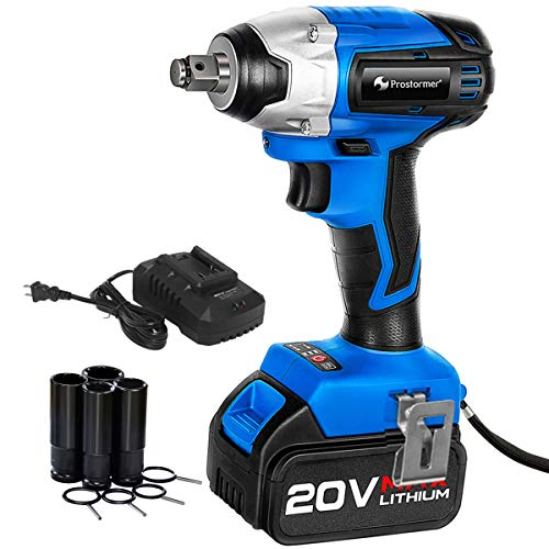 Brushless Cordless Impact Wrench 1/2-Inch, PROSTORMER 20V Max Lithium Battery Powered Impact Wrench Kit with 3000BPM Impact Power, 4.0Ah Battery, Fast Charger and 4 Sockets Included