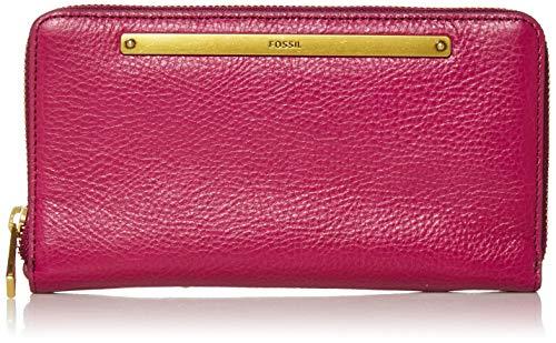 Fossil Women's Liza Leather Zip Around Clutch Wallet, Magenta