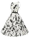VERNASSA Vestidos para Mujer, 50s Vestido Retro con Estilo del Oscilación de la Tarde de la Vendimia del Baile de Fin de Curso del Club del Coctel (M, 1261-Flor Blanca-01)