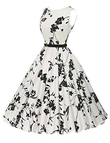 VERNASSA Vestidos para Mujer, 50s Vestido Retro con Estilo del Oscilación de la Tarde de la Vendimia del Baile de Fin de Curso del Club del Coctel (XXXXL, 1261-Flor Blanca-01)