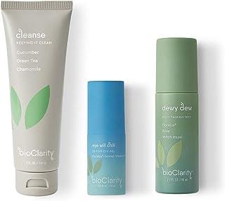 bioClarity Vegan Face Wash, Toner & Eye Gel Set (3 Piece) | Contains Cleanse, Dewy Dew & Eye Will Chill | W...