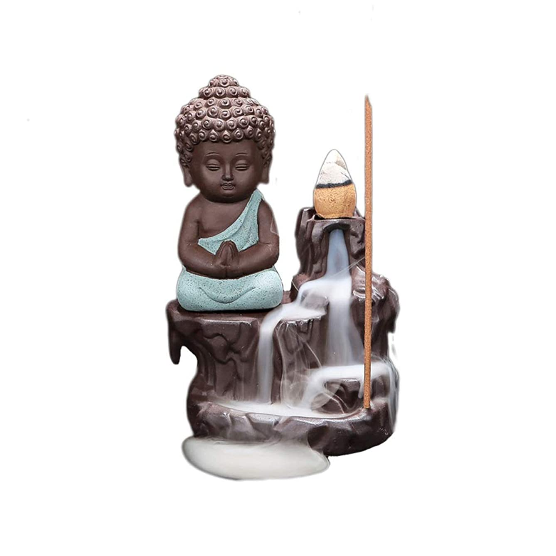 トリム挑む床を掃除する逆流リトルモンク仏陀香炉バーナーコーンスティックホルダーホームセラミック香ホルダーアッシュキャッチャー (Color : Green, サイズ : 4.88*3.22 inches)