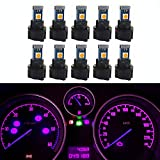 WLJH 10 Pack Pink Canbus T5 Led Bulb 2721 37 74 Wedge Lamp PC74 Twist Sockets Dash Dashboard Lights Instrument Panel Cluster Leds Replacement
