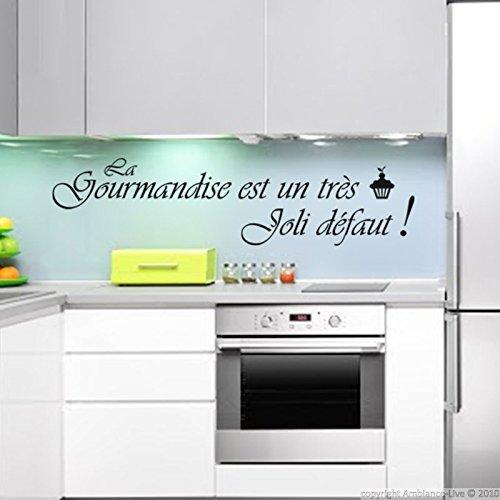 Ambiance-Live Sticker La gourmandise est Un très Joli défaut - Noir - 30 x 50 cm
