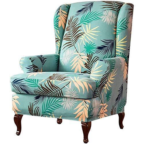 Ohrensessel Husse Mit Muster Blumen Elastisch Bezug Überzug Für Ohrenbackensessel Sesselbezug Stretch Passt Perfek-Grün