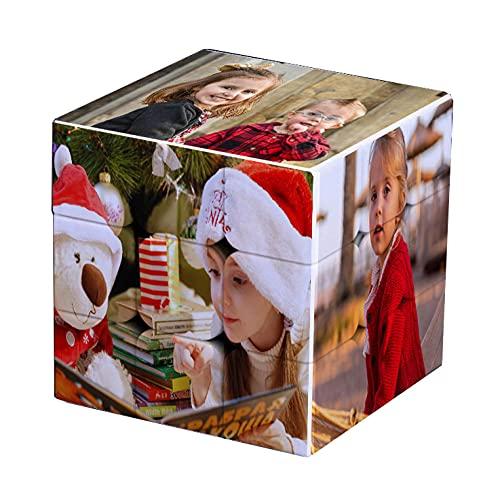 EKMON Marco de Fotos Personalizado Cubo de Rubik, Rompecabezas de Fotos Personalizado Cubo de Rubik Giratorio 3D con 6 imágenes, niños, Madre, Esposo, Amigos