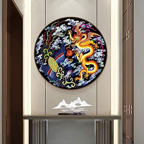 Phoenix Und Drache Runde Kreuzstich-Stickerei-Kits 11CT Seide/Baumwolle Thema Malerei DIY Needlework DMC Home Decor Kreuzstich-Malerei (Size : 11CT 60x60cm silk)