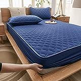 HAIBA Bedding - Protector de colchón impermeable (transpirable, elástico, 180 x 200 + 30 cm), color azul