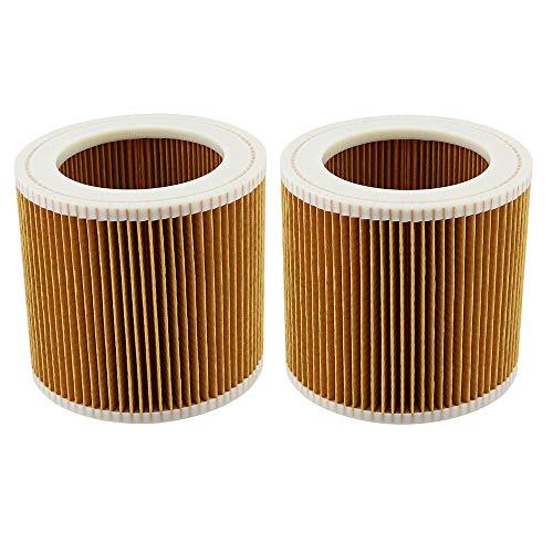 DingGreat 2Pcs Filtro de Cartucho, reemplazo de Filtro de Aire para Kärcher A2004 A2054 A2204 A2656 WD2.250 WD3.200 WD3.300 Aspiradora en seco y húmedo