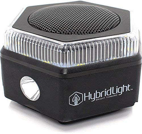Hybridlight HEX Bluetooth Speaker, 400 Lumen Flashlight, Lantern, FM Radio, Micro SD Card Reader. Charge Out to Cell Phones. Solar Panel Charges Indoors or Out. Quick Charge Using Included USB Cable
