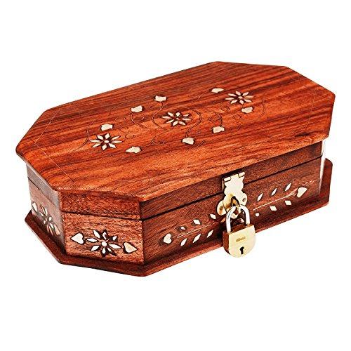 Handmade Decorative Wooden Jewelry Box With Free Lock & Key Jewelry Organizer Keepsake Box Treasure Chest Trinket Holder Lock Box Watch Box Storage Box 8 x 5 Inches Birthday Housewarming Gift Ideas