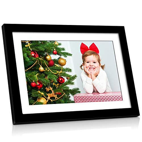 10 Inch WiFi Digital Picture Frame Native 1080P Touch Screen with Removable Black Frame, Auto-Rotate, Background Music, Digital Photo Frame Support USB SD Slot