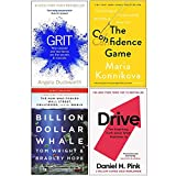 Grit Why passion and resilience are the secrets to success, The Confidence Game, Billion Dollar Whale, Drive Daniel H Pink 4 Books Collection Set