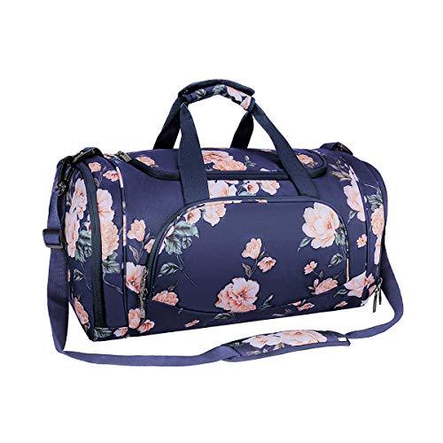 MOSISO Sport Gym Tasche Reisetasche mit Vielen Fächern, Wasserdicht Sporttasche Pfingstrose Seesack für Tanzen, Fitness, Sport und Reise mit Schuh Abteil, Blau
