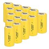 Odstore 1.2V 2200mAh Ni-Cd Tap Sub C SC Rechargeable Battery Batteries (15pcs Yellow)