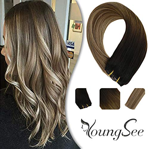 YoungSee 14inch Ombre Clip in Hair Extensions Darkest Brown Fading to Medium Brown with Ash Blonde Remy Human Hair Ombre...