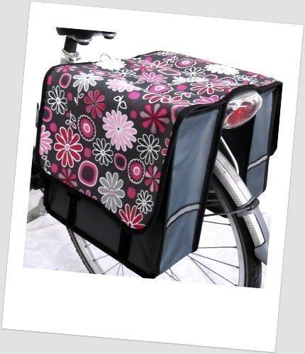 Kinder-Fahrradtasche Joy Satteltasche Gepäckträgertasche Fahrradtasche 2 x 5 Liter Farbe: 18 Flower Pink