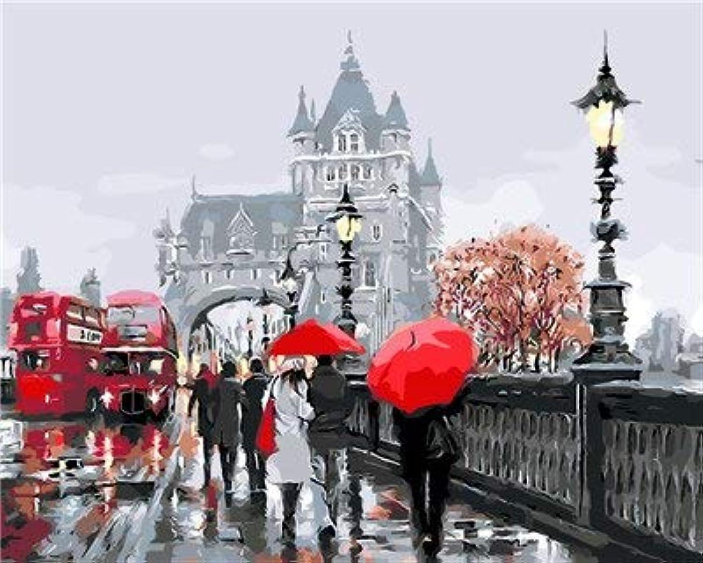 KYKDY rosso autobus Rainy Russia Immagini By Numbers DIY Dipinto a uomoo Pittura murale Nuovo regalo Coloreeare per numero Arte Pittura per la decorazione domestica, 40x50cmx1 con cornice, Bianco