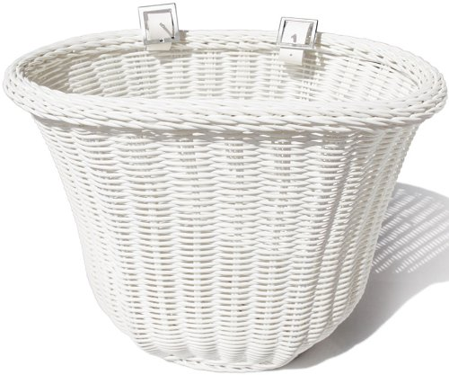 Colorbasket 01303 Adult Front Handlebar Bike Basket, All Weather, Water Resistant, Adjustable Leather Straps, Food-Contact Safe, White