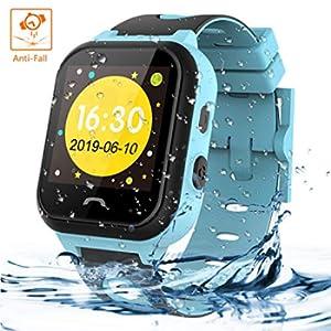 Vannico Smartwatch Bambini, Orologio Intelligenti Per Bambini LBS IP67 Anti-goccia Con SOS Anti-perso Touch Screen Del Orologio Bambini Ragazza Ragazzo Regalo Di Compleanno(Azzurro)